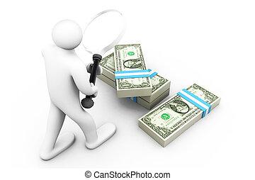 3d, uomo affari, con, magnificatore, e, dollari., ricerca, soldi