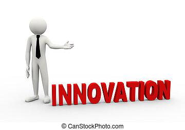 3d, uomo affari, con, parola, innovazione