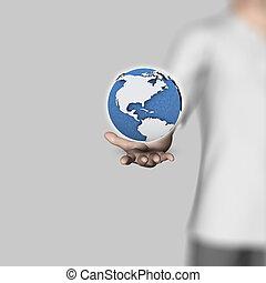 3d, uomo affari, presa a terra, globo