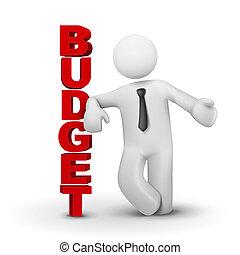 3d, uomo affari, presentare, concetto, di, budget