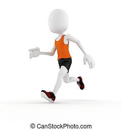 3d, uomo, atleta, concorrenza, bianco, fondo