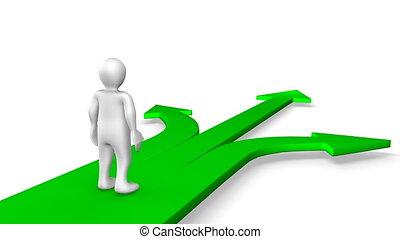 3d, uomo cammina, su, verde, frecce