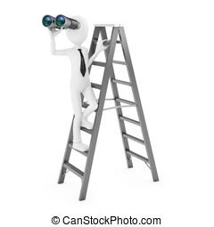 3d, uomo, con, binoculare, su, uno, scala
