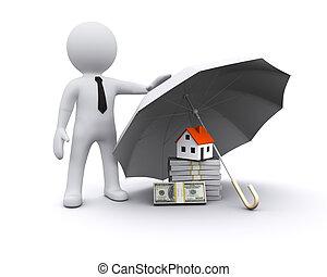 3d, uomo, con, ombrello