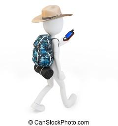 3d, uomo, con, portatile, gps, congegno