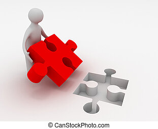 3d, uomo, con, puzzle