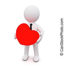 3d, uomo, con, uno, cuore rosso