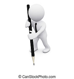 3d, uomo, con, uno, matita
