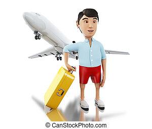 3d, uomo, con, uno, valigia, e, aeroplano.