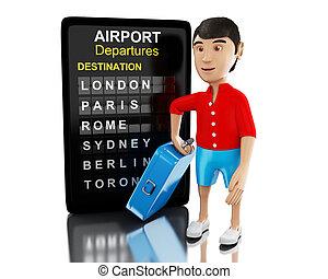 3d, uomo, con, uno, valigia, e, aeroporto, board.