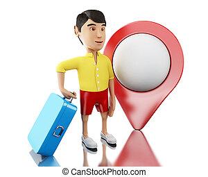 3d, uomo, con, uno, valigia, e, mappa, pointer.