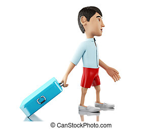 3d, uomo, con, uno, valigia, va, su, vacation.