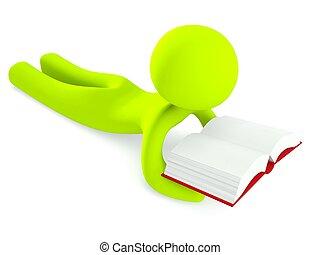 3d, uomo, dire bugie, lettura libro, isolato, bianco