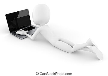 3d, uomo, e, laptop, isolato, bianco, fondo