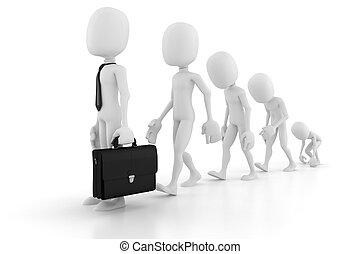 3d, uomo, evoluzione, in, affari