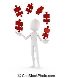 3d, uomo, gioco, con, confondere pezzi