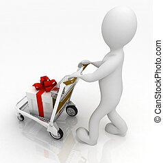 3d, uomo, in crosta, uno, luce, carrello, con, regali