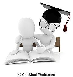 3d, uomo, insegnante, e, studente, studiare, toghether