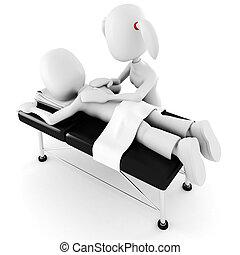 3d, uomo, posa, su, uno, tavola massaggio, isolato, bianco,...