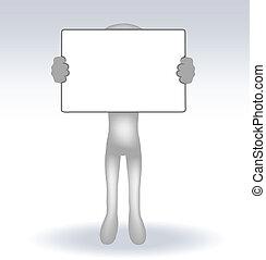 3d, uomo, presa a terra, uno, pagina, bianco, backround