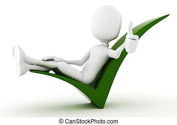 3d, uomo rilassa, in, uno, positivo, segno, isolato, bianco,...