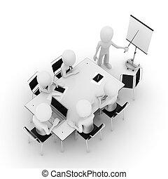 3d, uomo, riunione affari, isolato, bianco