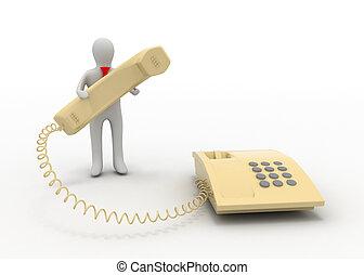 3d, uomo telefono