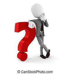 3d, uomo, uomo affari sta piedi, appresso, uno, grande, rosso, punto interrogativo, bianco, fondo