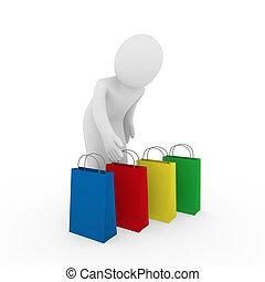 3d, uomo, vendita, borsa, shopping