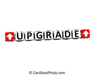3D Upgrade Button Click Here Block Text