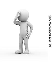 3d upset sad depressed person
