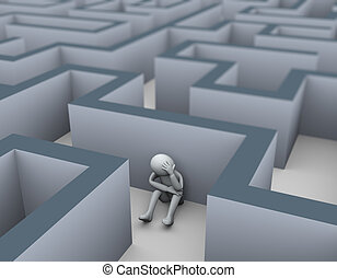 3d upset sad loser man in maze labyrinth
