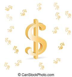 3D U.S. dollar sign