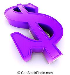 3d US Dollar symbol over white background