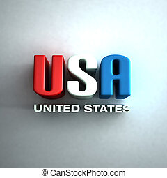 3D USA Letters word  in red,white and blue. Sign in wall