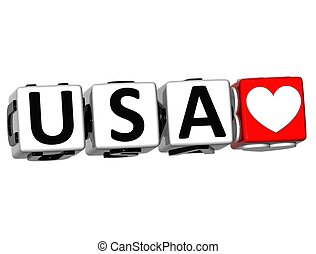 3D USA Love Button Click Here Block Text