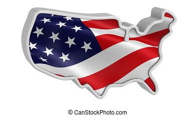 3D USA map and flag with metal frame on a white background