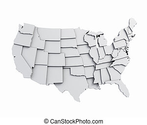 3D USA map white