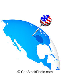 3d USA pin in america map globe