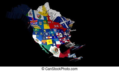 3D USA with State Flags New York