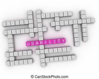 3d, usability, parola, nuvola, concetto