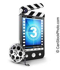 3d, vídeo, smartphone, conceito