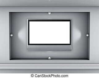 3d, vacío, nicho, con, proyectores, y, lcd, televisión,...