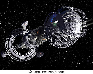 3d, vaisseau spatial, interstellaire