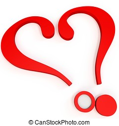 3d valentine's day heart shape question marks