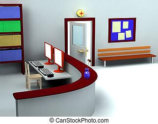 3d, van, ziekenhuis, wachtruimte , en, registratiekantoor