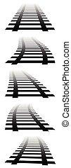 3d, vanishing railway tracks. Railroads in perspective. Fading version.