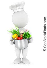 3d, vaso, cottura, bianco, persone