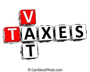 3D Vat Taxes Crossword on white background