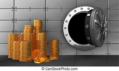 3d vault door - 3d illustration of vault door over steel...